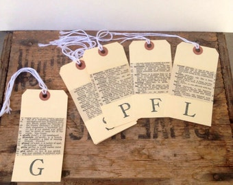 Animal hang tags / hand stamped labels / decoupage hang tags / 1925 dictionary / upcycled