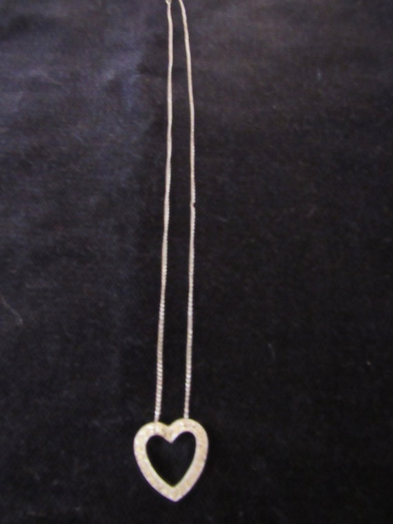 Sterling rhinestone necklace heart shape rhinestone pendant