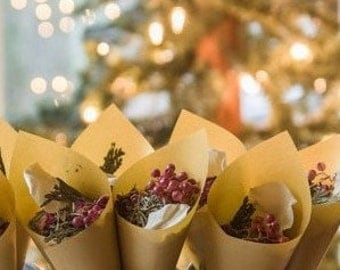 WINTER WEDDING,  Flower Confetti, Biodegradable Petals, Gold Vellum Cones, Christmas favor, holiday decor, set of 20