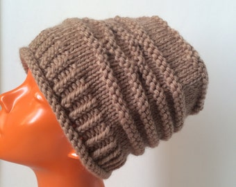 Hand Knit Warm Bulky Hat, Pure Wool