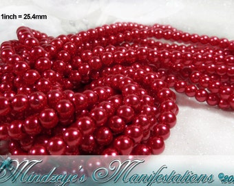 Dahlia Red Glass Pearl Beads 5-6mm