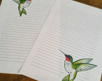 Hummingbird Stationery ~ 10 sheets & 5 Envelopes