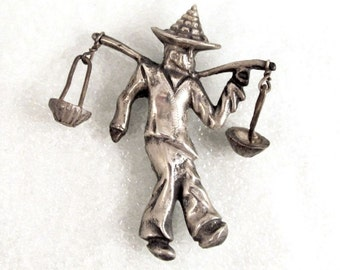 Mexico Silver Asian Water Carrier Vintage Figural Ca. 1950 Mid Century