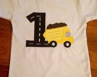 Sample sale:  12 to 18 months dump truck first birthday shirt