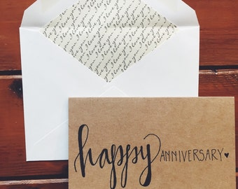 hand-lettered happy anniversary card