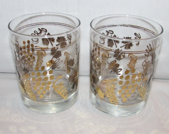 CULVER GLASSES GRAPES Set of 2 Gold and Silver Grapes and Squiggles