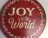 Joy to the World Holiday Door Sign ~ Rustic Red Sign