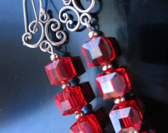 Silver Earrings, Scarlet Red Earrings, Fire polished Austrian Crystals, Red Crystal Cubes,  TM-186