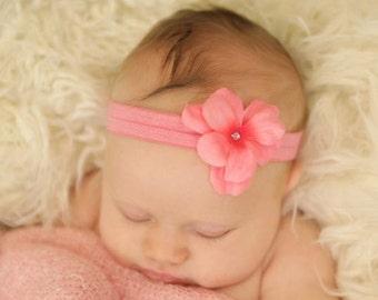 Baby Headband - Baby Girl Headband - Geranium Headband- Infant Headband - Flower Headband - Newborn Headband - Newborn Photo Prop - Rose