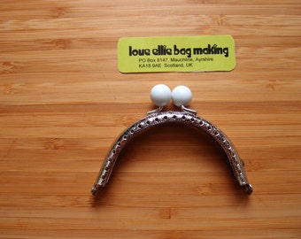 PURSE FRAME Gumball Engraved Curved Sew-in Purse Frame - Colour: WHITE - Purse Frame - 3.1 inch - Make your own purse - sewing holes