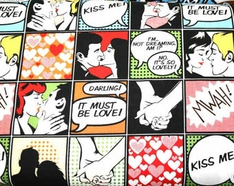 HALF YARD VALENTINE - Kiss Me - Michael Miller romance romantic valentine's day love kissing couples sweethearts Quilting Cotton