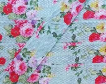 5/8 Blue Floral Bouquet Fold Over Elastic