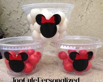 25 Plastic Minnie Mouse Snack Cups-4 oz.