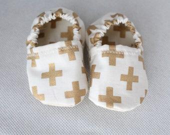 Baby booties Gold Crosses