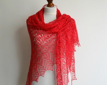 Red hand knitted lace shawl silk luxury triangular handmade