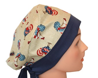 Scrub Hat Surgical Scrub Cap Chemo Hat Tie Back Flirty Front Fold Pixie Red White Blue Roosters Patriotic  2nd Item Ships FREE