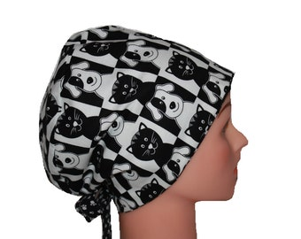 Scrub Hat Surgical Scrub Cap Chemo Chef Dentist Vet Nurse Dr Hat European Pixie Style Black White Cat Dog 2nd Item Ships FREE