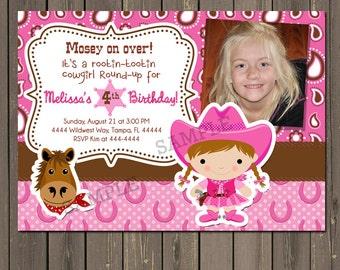 Cowgirl Birthday Invitation, Western Birthday Party Invite, Horse Party Invite, Pony Party, Pink Cowgirl, Printable Invitation