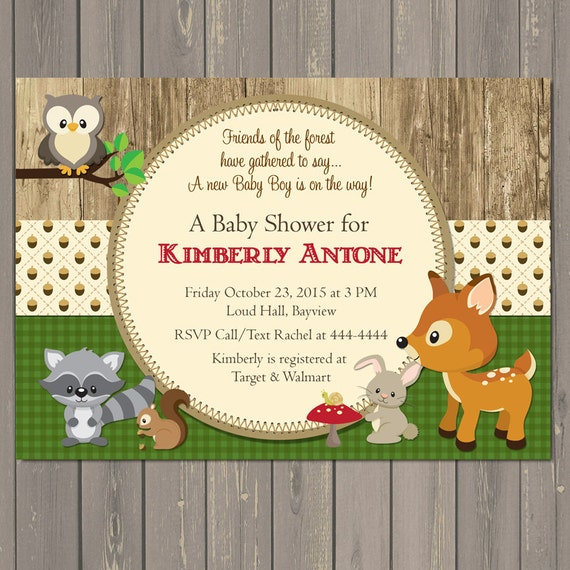 Woodland Baby Shower Invitations Forest Animals Shower