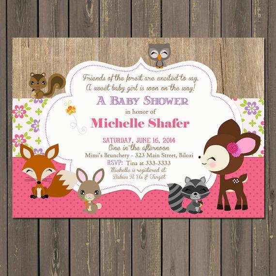 Woodland baby shower invitation baby girl woodland animal baby il570xn filmwisefo