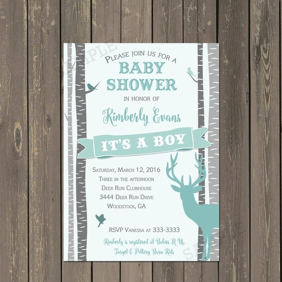 Deer Baby Shower Invitation Rustic Birch Tree