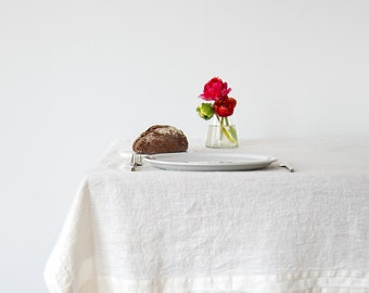 White Stone Washed Linen Tablecloth