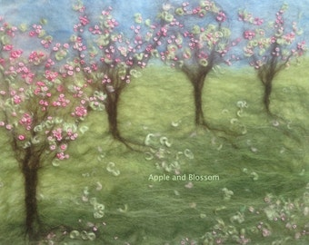 Spring,Springtime,Blossom,Trees,Orchard,Countryside, Landscape,Wool,Felt,Art,Picture,Embroidery,Embroidered Flowers,Textile Art,Nature