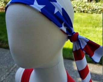 Children & Toddler American Flag Reversible Spandex Headbands