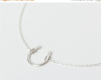 ON SALE Sterling silver lucky horseshoe charm - sterling silver necklace - simple everyday jewelry