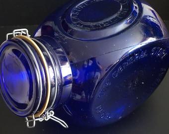 Vintage, Cobalt blue canister jar