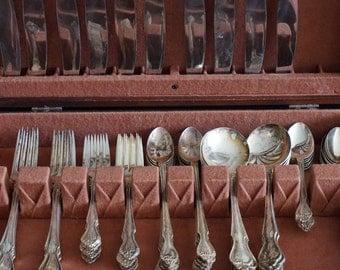 FREE SHIPPING, Vintage, Nickel Silver 105 piece Flatware Set