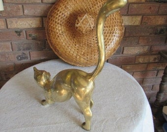 Vintage Large Brass Cat with Long Tail.
