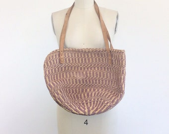 70s Purple and Tan Woven Basket Purse / 1970s Vintage Leather Bucket Purse