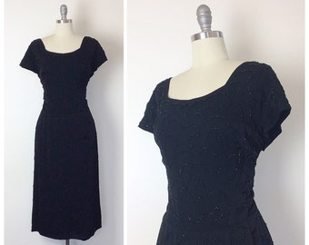 50s Monochromatic Beaded Swirl Party Dress - 1950s Vintage Embellished Black Wiggle Dress - Large - Size 8 - 10