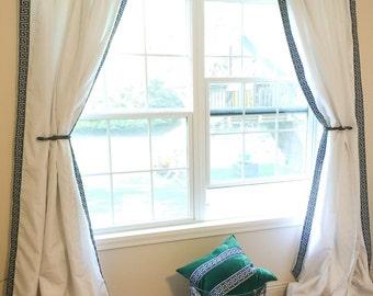 Greek Key Trimmed Curtains, Greek key, Solid Curtains with Tassels, Window Treatments , Curtains