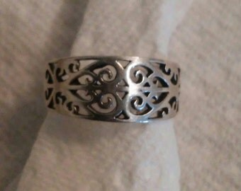Antique style Filigree Band Ring sz 6.5  Two available