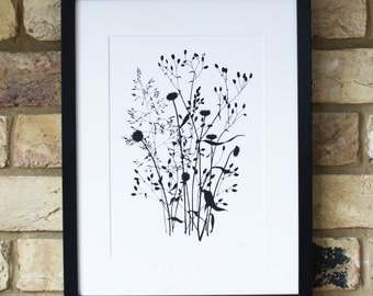 floral print, limited edition screen print, hand printed art, small wall art, black and white print