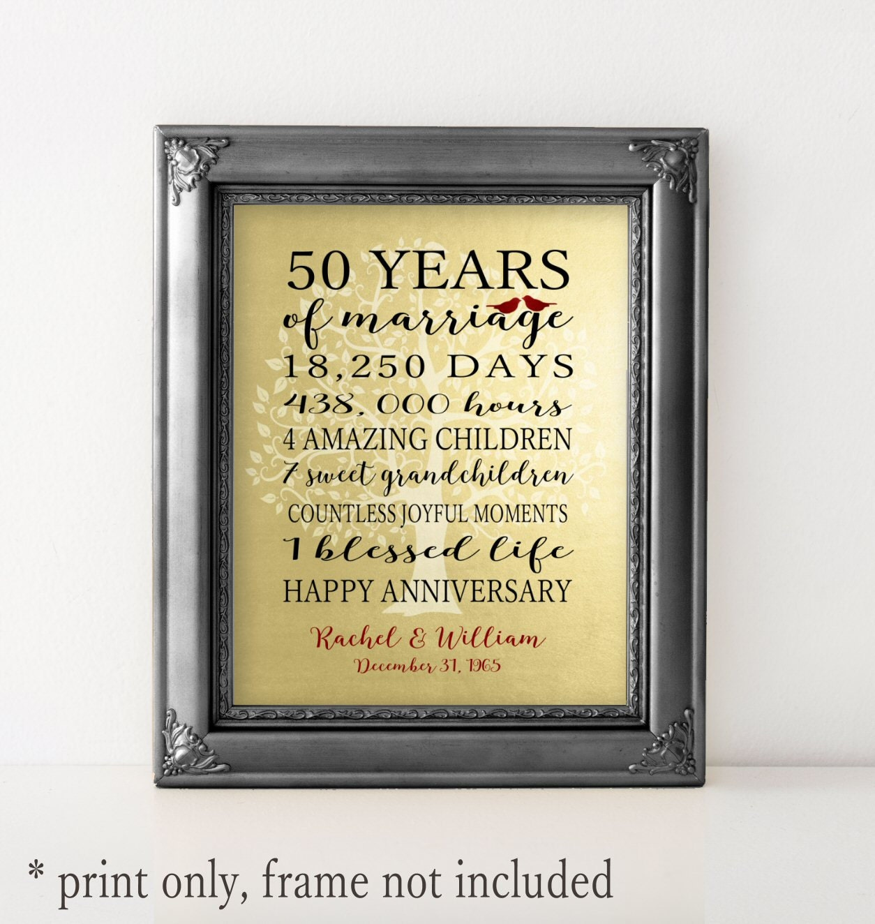50th anniversary gift golden anniversary faux gold foil 50. Black Bedroom Furniture Sets. Home Design Ideas