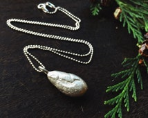 Sterling silver necklace - cocoa bean necklace, chocolate necklace, silver bean necklace, christmas gift