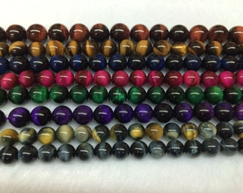 8mm Round Multicolor Tigereye Beads Genuine Natural Various Colors 15''L 38cm Loose Beads Semiprecious Gemstone Bead   Supply