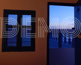 Room with a view, Blue view, Travel photography, Shades of Blue, Home Decor, Photographic print 20x30cm ( 8x 12 inches)