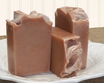 Pink Egyptian Clay Rice Flower and Shea Scented Goat Milk Coconut Milk and Honey Artisan Handmade Luxury Soap