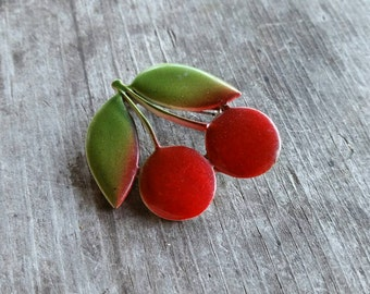 Adorable Enamel Cherries Brooch - Great Pinup Style!
