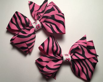 Hair Bow - Pink Zebra Stripe