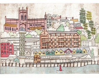 NEW - Dry Point Print - Newcastle