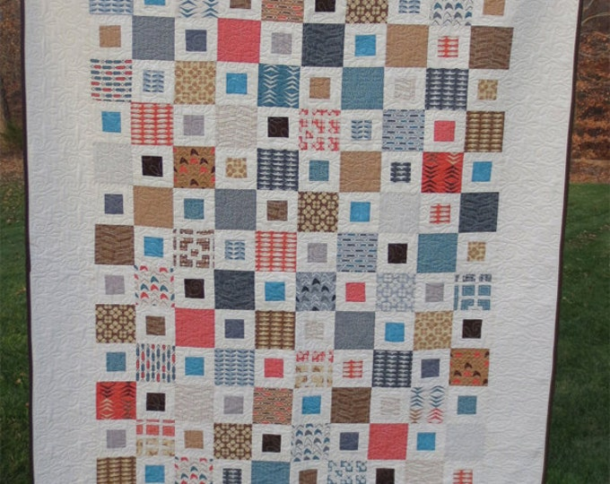 Modern Neutrals Quilt Throw - Handmade -Designer Collection -  Blues, Grays, Brown, Tan, Coral and Cream - Ready to Ship
