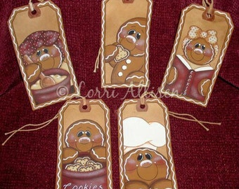 Gingerbread hang tags Christmas ornaments painting pattern packet instant download