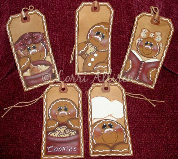 Gingerbread Hang Tags Christmas Ornaments Painting Pattern