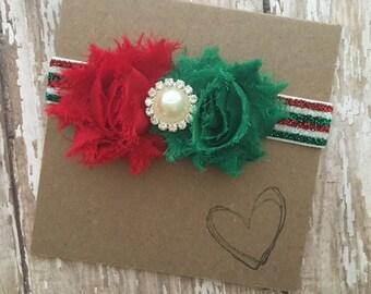 Christmas Headband, Red and Green Holiday Headband, Baby, Newborn