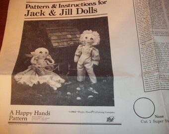A Happy Hands Pattern Jack & Jill Dolls - Pattern and Instructions For Jack and Jill Dolls - Doll Pattern - Jack and Jill